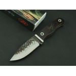 GB.5Cr13Mov Steel Blade Black Wood Handle Forged Pattern Finish Survival Knife3543