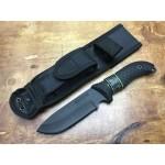 8Cr14MoV Steel Blade Rubber Handle Titanium Finish Fixed Blade Knife with Nylon Sheath5882