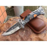 7Cr13MoV Steel Blade Metal Bolster Resin Handle Back Lock Folding Blade Knife Pocket Knfie5862