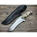 9Cr18MoV Steel Blade G10 Handle Titanium Finish Fixed Blade Tactical Knife5728