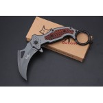 5Cr15MoV Steel Blade Wood Inlay Metal Handle Liner Lock Claw Knife Folding Blade Knife5867