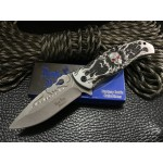 Skull 440C Stainless Steel Blade Metal Handle Satin Finish Folding Blade Knife