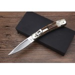 Maffia.D2 Steel Blade Metal Bolster Antler Handle Satin Finish Folding Blade Knife