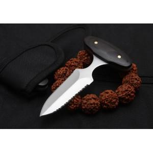 5Cr13MoV Steel Blade Black Wood Handle Satin Finish Defensive Knife Stab Fixed Blade Knife5963
