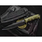 Stonewash Blade G10 Handle Hunting Fixed Blade Knife with Kydex Sheath6023